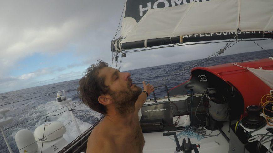 Eric Bellion sur son bateau