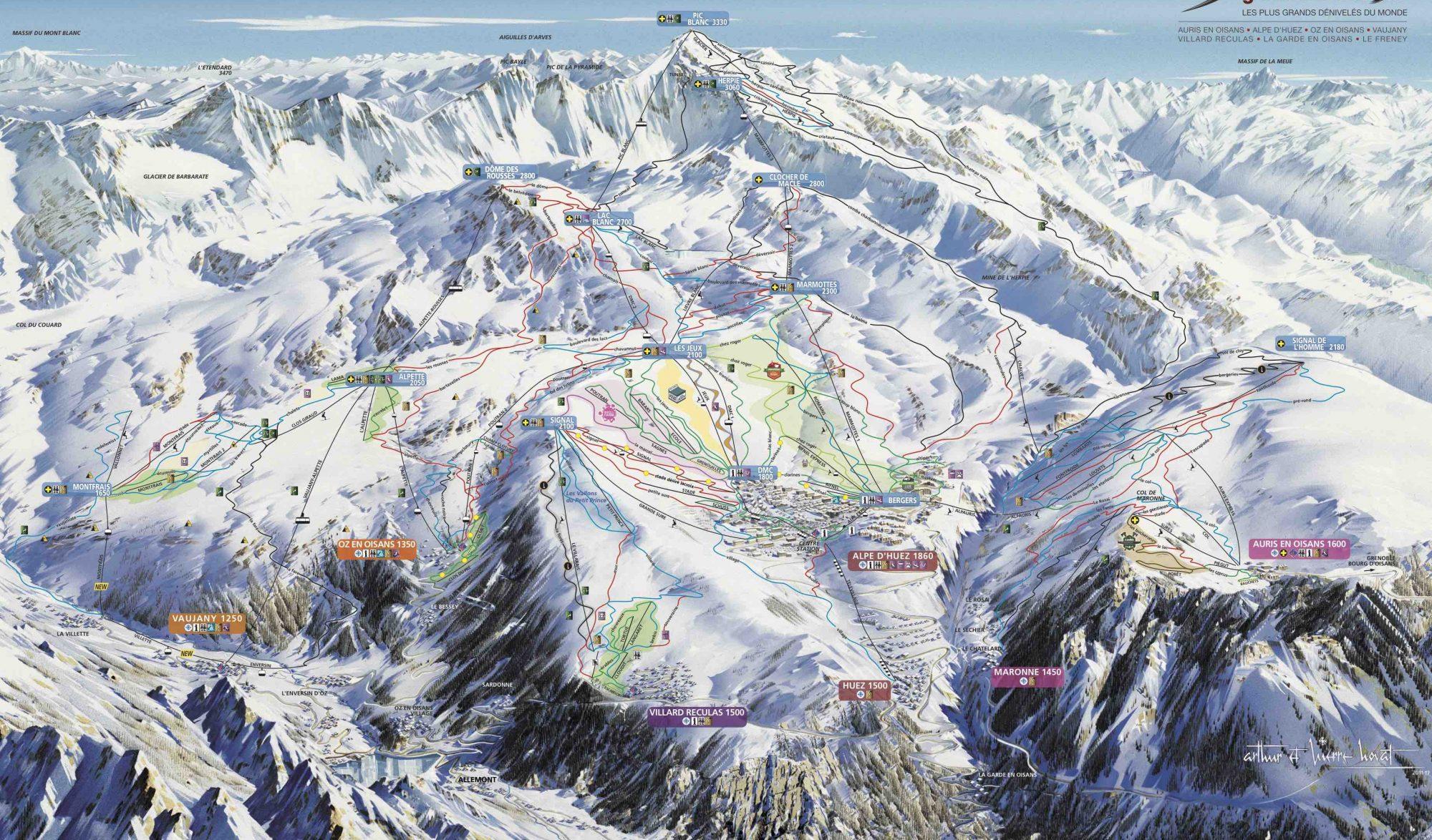 Plan des pistes du grand domaine de l'Alpe d'Huez