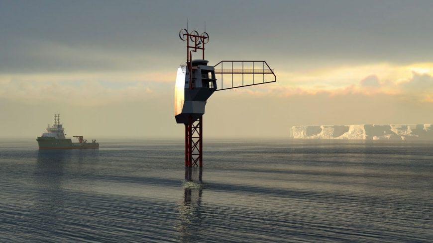 Le Polar Pod de Jean Louis Etienne avec en fond un bateau et la banquise