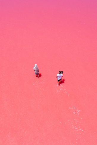 Le lac rose d'Hillier en Australie