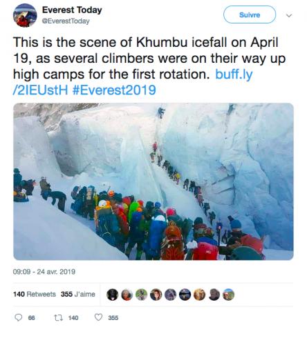 Bouchon vers le sommet de l'Everest en avril 2019