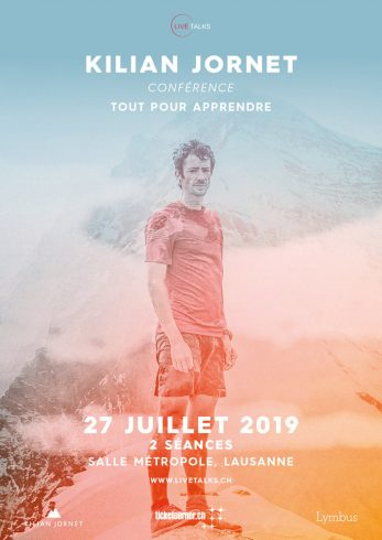 Affiche de la conférence de Kilian Jornet le samedi 27 juillet à Lausanne (Suisse)