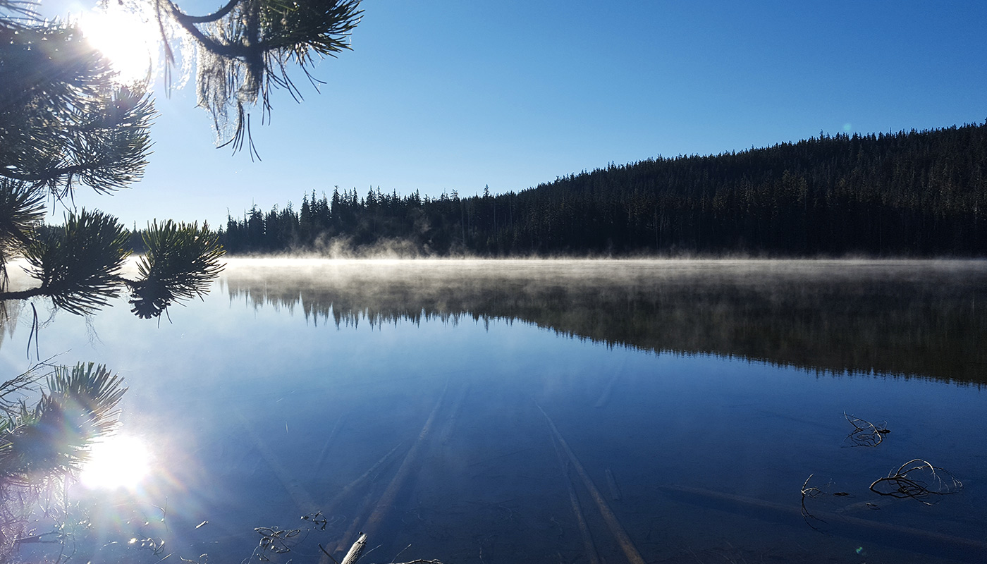 Mi. 1918, Oregon - Brume sur Bobby Lake au petit matin.