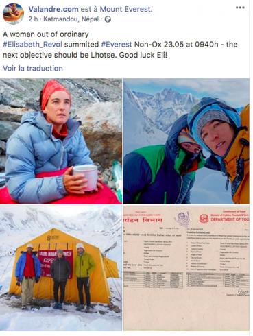 Élisabeth Revol au sommet de l'Everest sans oxygène
