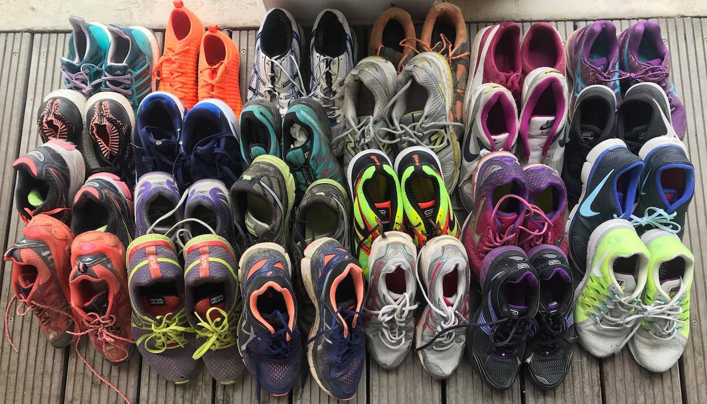 Les chaussures trop usées partent au recyclage.