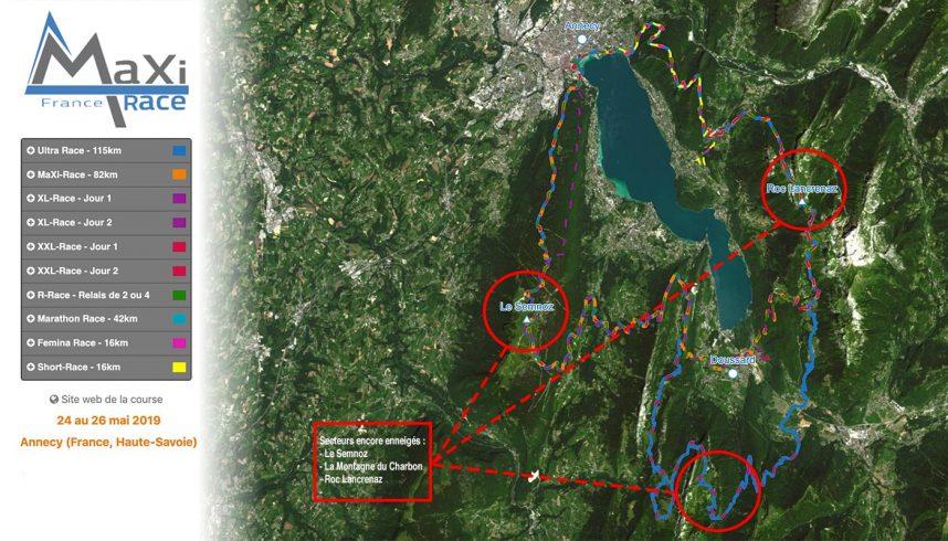 Carte des parcours de la Maxi-Race avec les zones enneigées