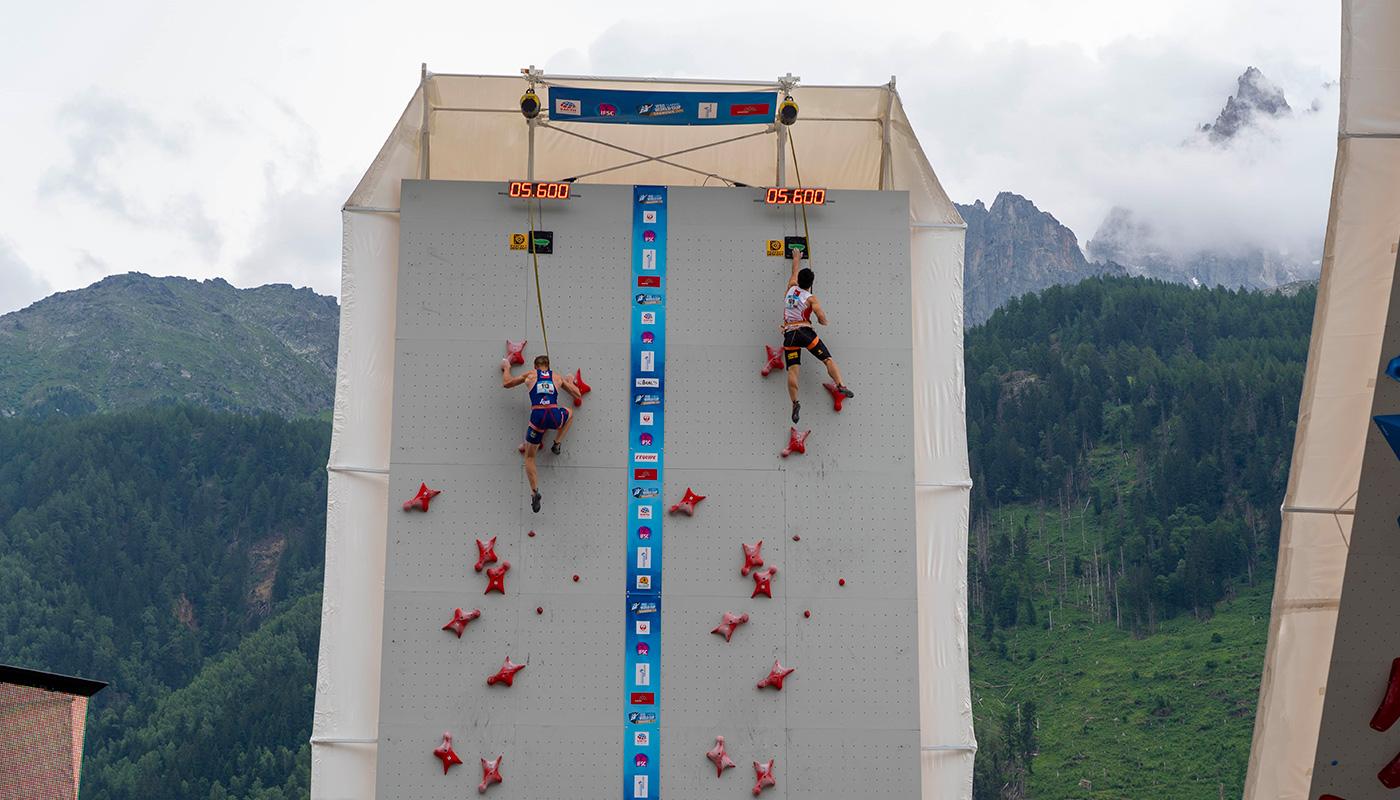 L'épreuve de vitesse d'escalade à Chamonix