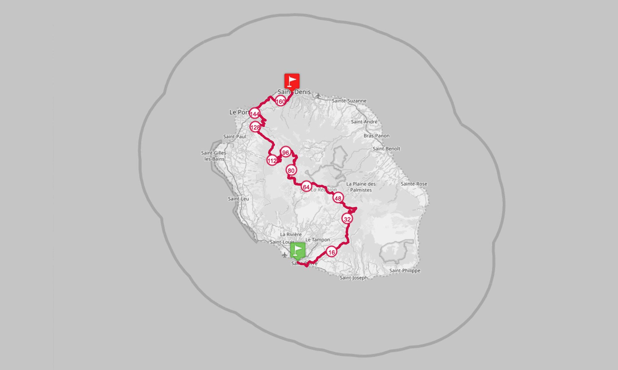 Carte du Grand Raid de la Réunion