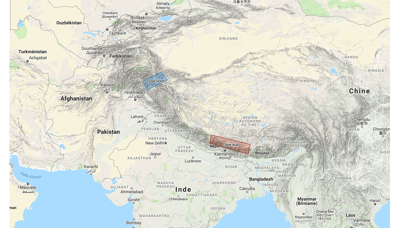 Carte vue d'ensemble Himalaya