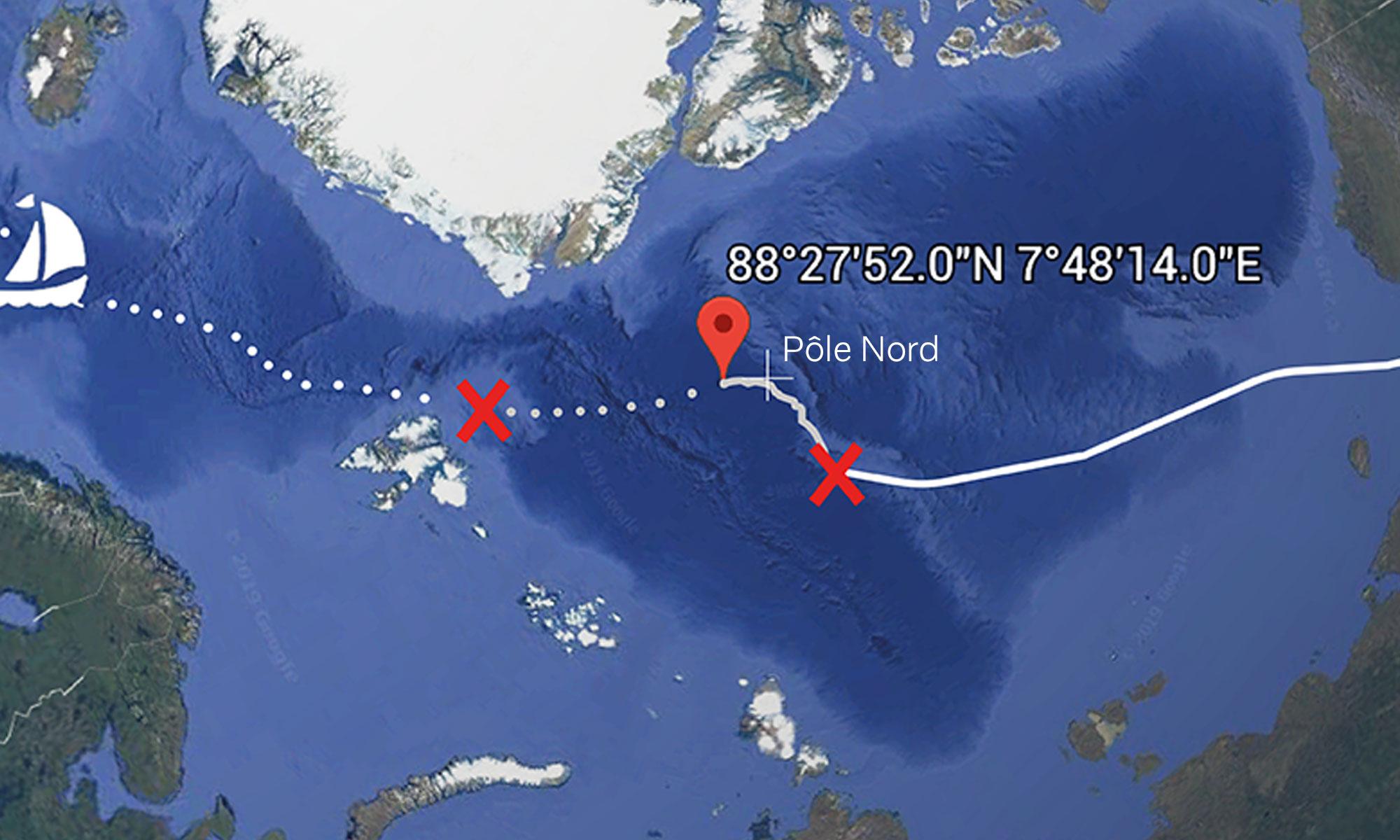 La route de l'expédition Pole to Pole (Google Earth)