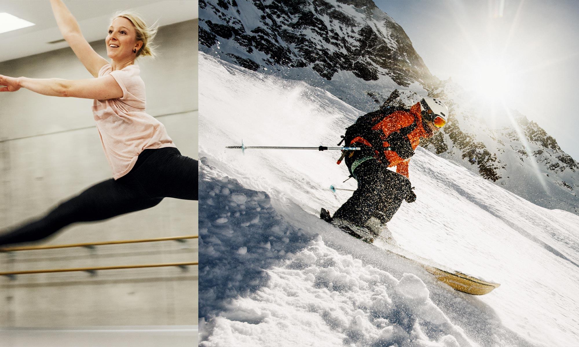 Stephanie Schelling en ski hors-piste dans le Valais