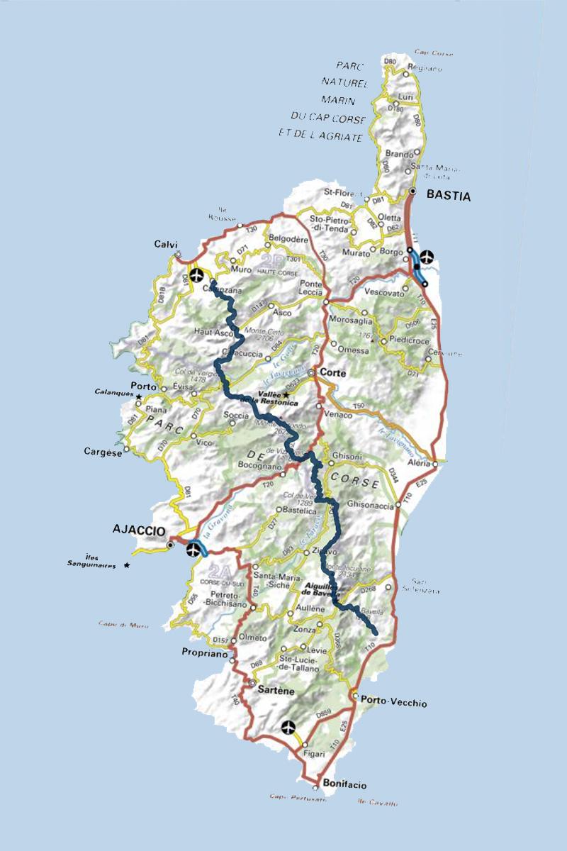 Le tracé du GR 20, sentier mythique en Corse