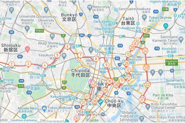 Parcours du marathon de Tokyo 2020