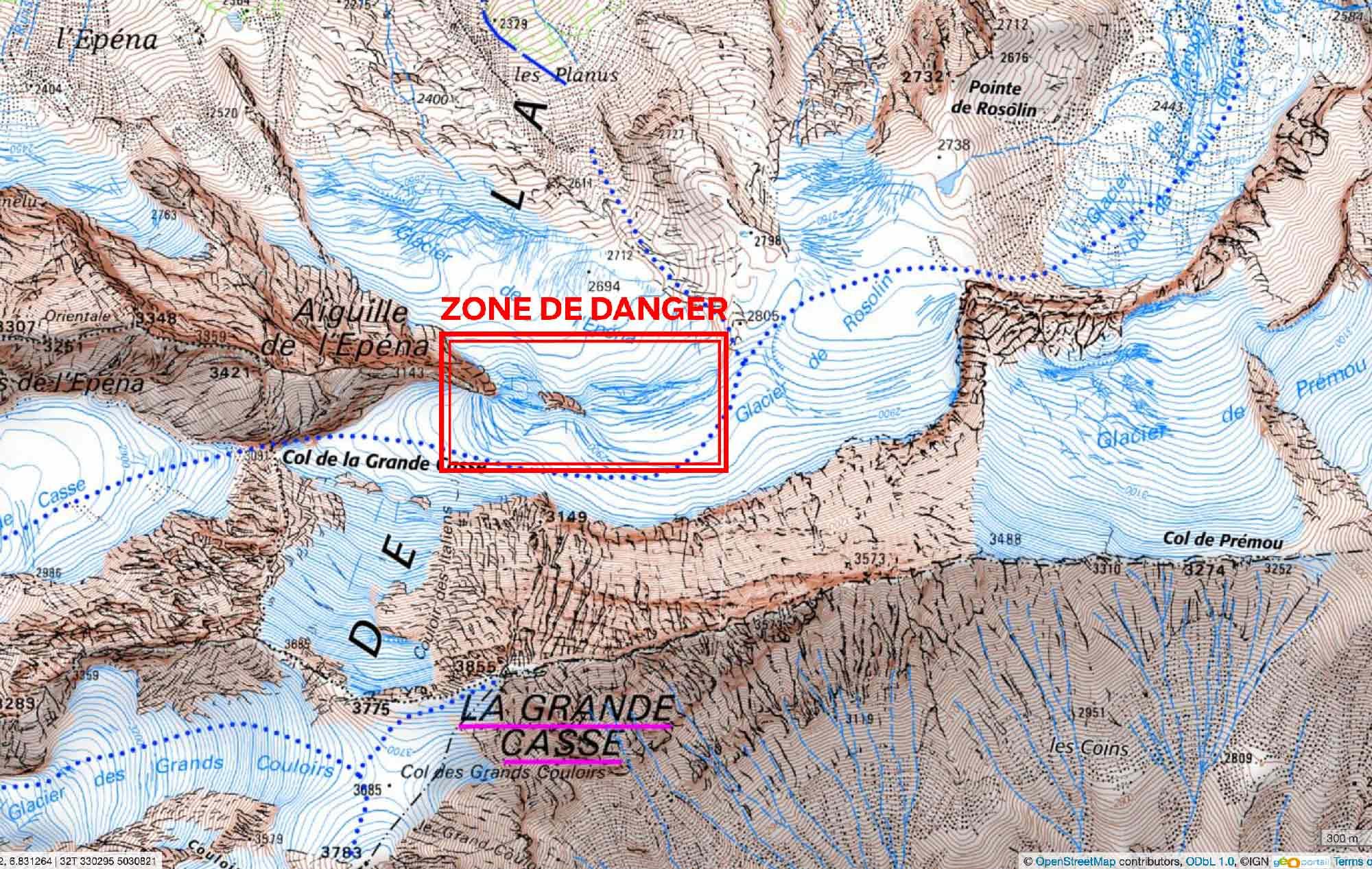Risque réel d'effondrement de séracs en face Nord de la Grande Casse