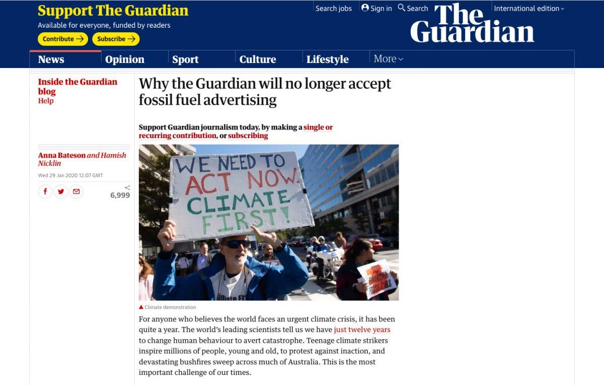 The Guardian n'accepte plus de revenus publicitaires issues de l'énergie fossile