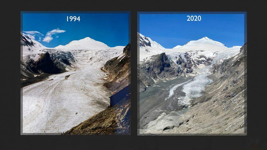 Recul du glacier Pasterze, Autriche