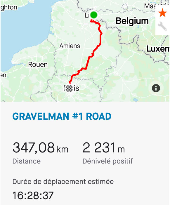 GravelMan tracé route