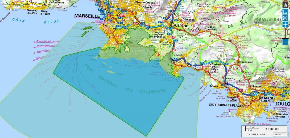 Carte Calanques de Marseille