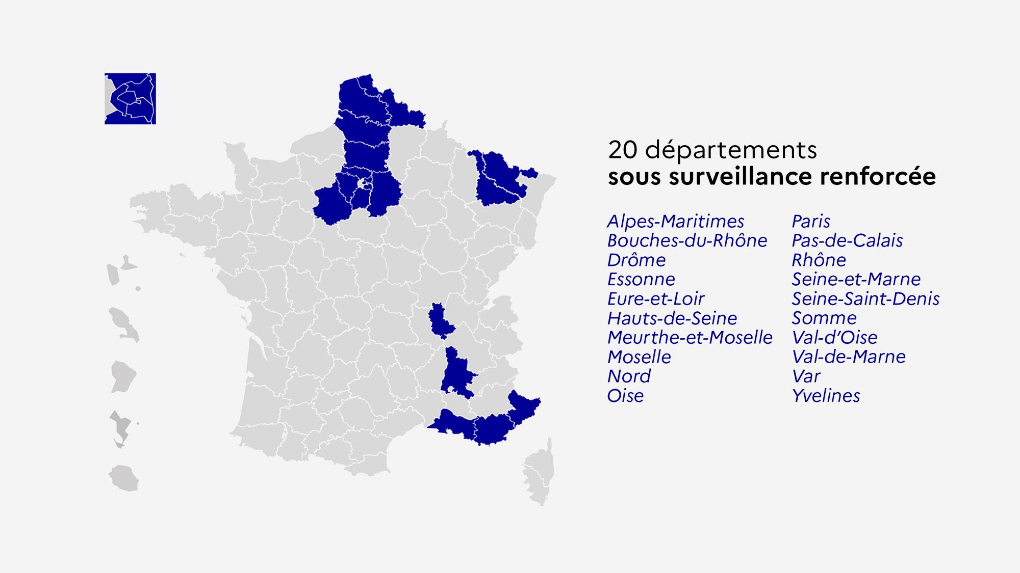 Carte des 20 départements sous surveillance