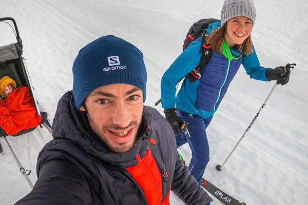 Kilian Jornet, Emenie Forsberg et leur fille en ski de rando