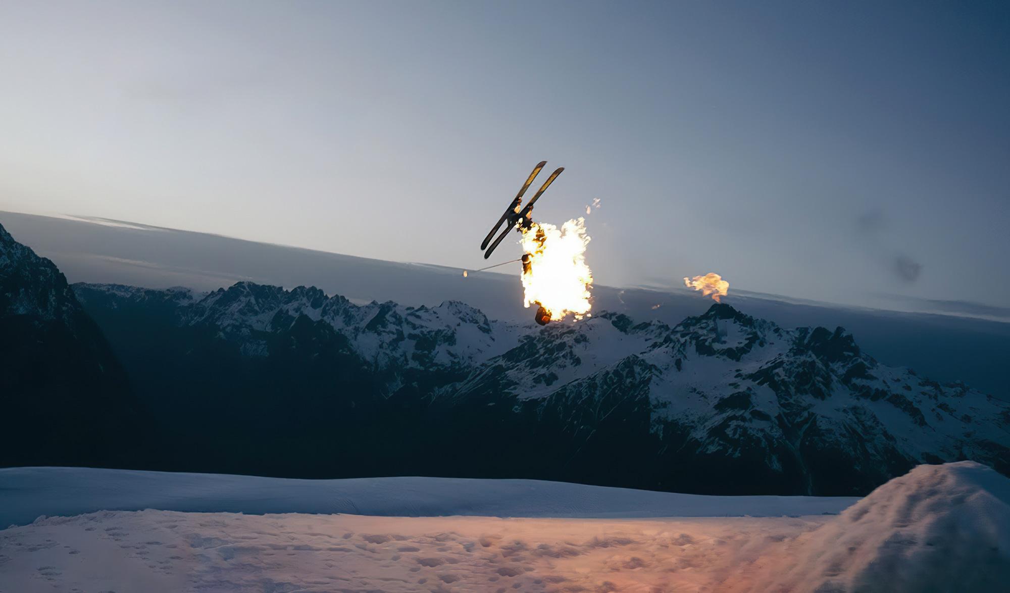 Skieur en feu