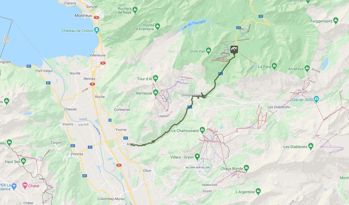 Cyclisme : trace du col des Mosses en Suisse