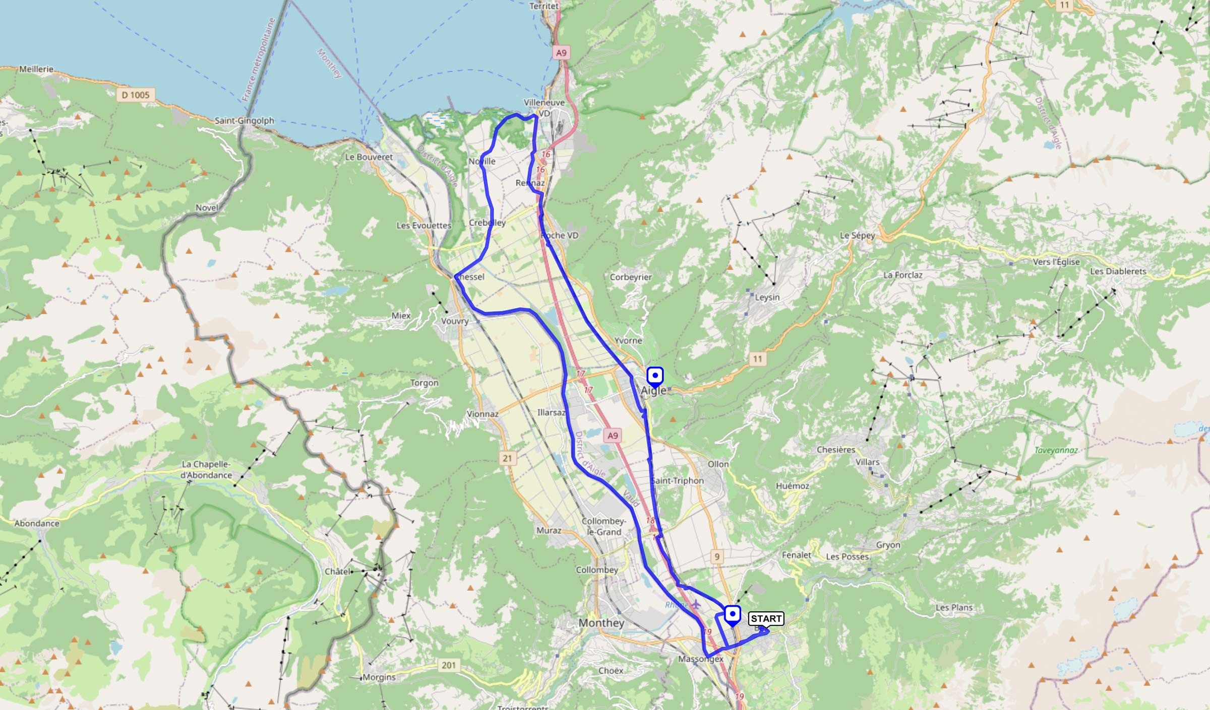 trace gpx Bex-Aigle-Villeneuve-Illarsaz-Bex