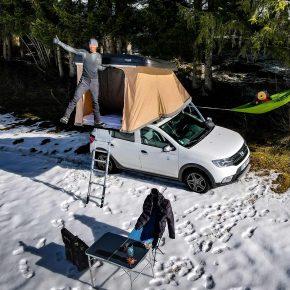 Jeff Bloyet tour d'europe, tente sur le toit