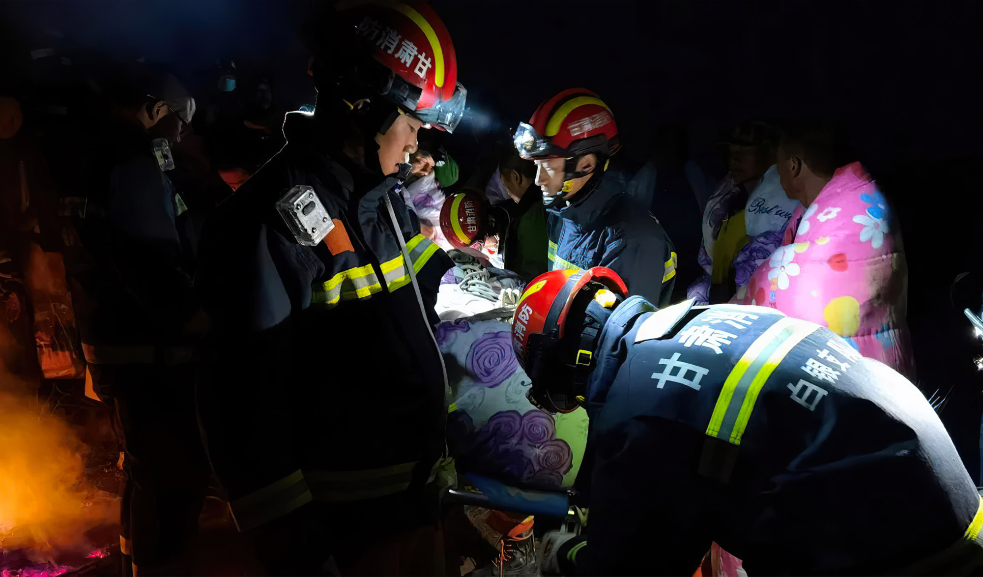 Sauveteurs chinois de l'ultra-trail de Gansu