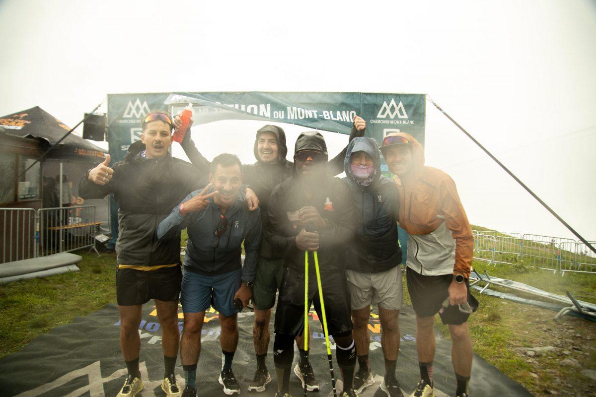 Cédric Ganguia à l'arrivée du Marathon du Mont-Blanc avec ses amis