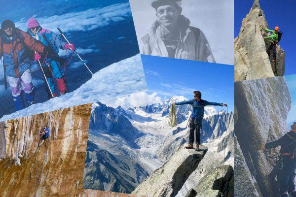 Patchwork photos de guides de hautes montagne ancien et jeune