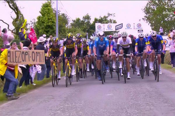 Spectatrice avec pancarte OPI OMI du Tour de France responsable d'une chute massive