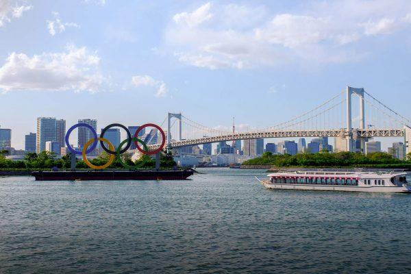 vue sur Tokyo avec les anneaux Olympiques